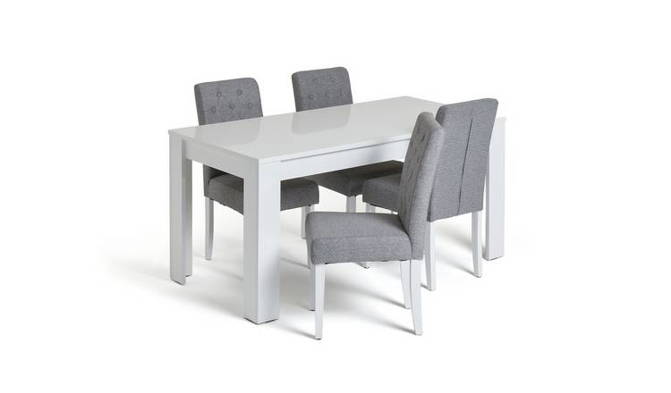 Habitat Miami Gloss Dining Table & 4 Button Chairs - Grey