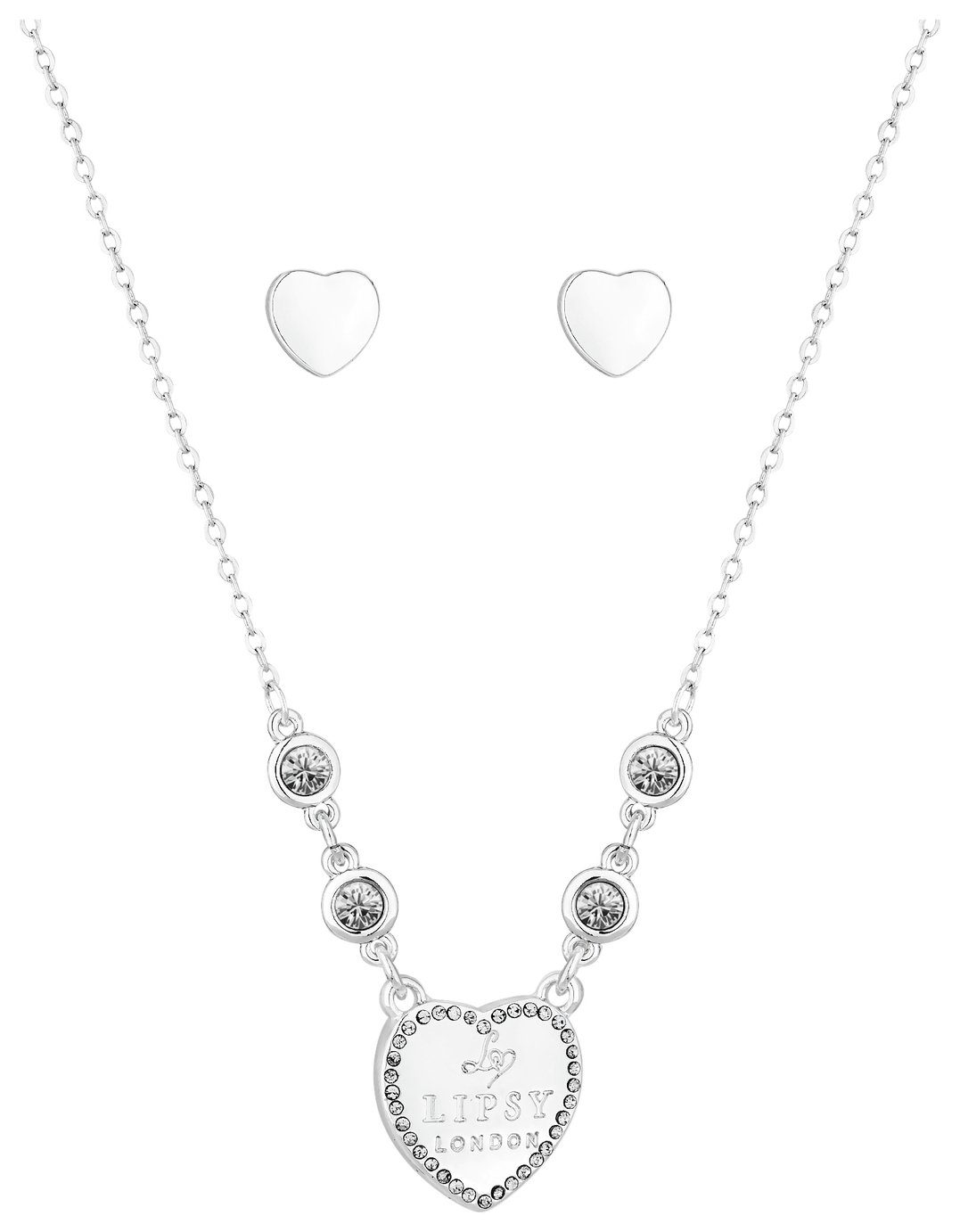 Lipsy Silver Colour Heart Pendant and Earring Set