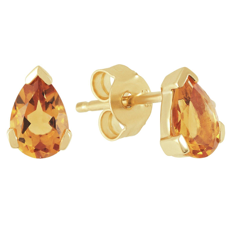 Revere 9ct Gold Pear Citrine Stud Earrings