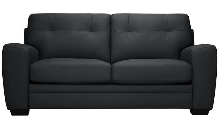Argos Home Raphael 2 Seater Leather Mix Sofa bed - Black