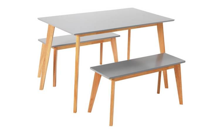 Argos Home Harlow Dining Table & 2 Grey Benches
