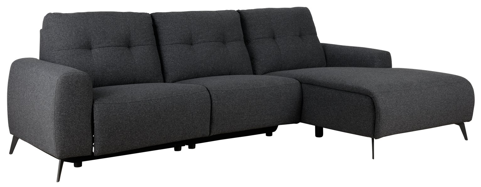 Habitat Ghost Right Corner Fabric Recliner Sofa - Charcoal