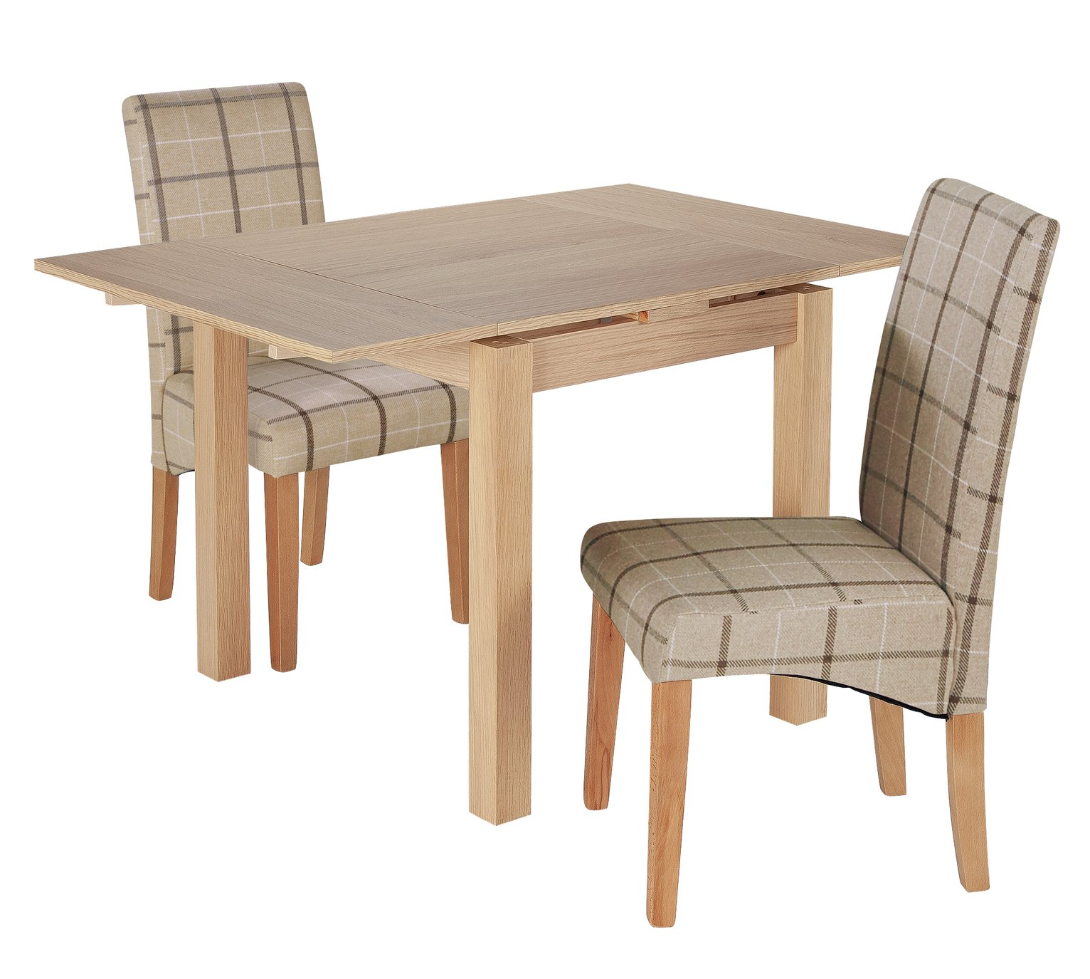 Argos Home Clifton Oak Extending Table & 2 Mink Check Chairs