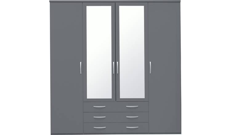 Argos Home Hallingford 4 Door 3 Drawer Mirror Wardrobe -Grey