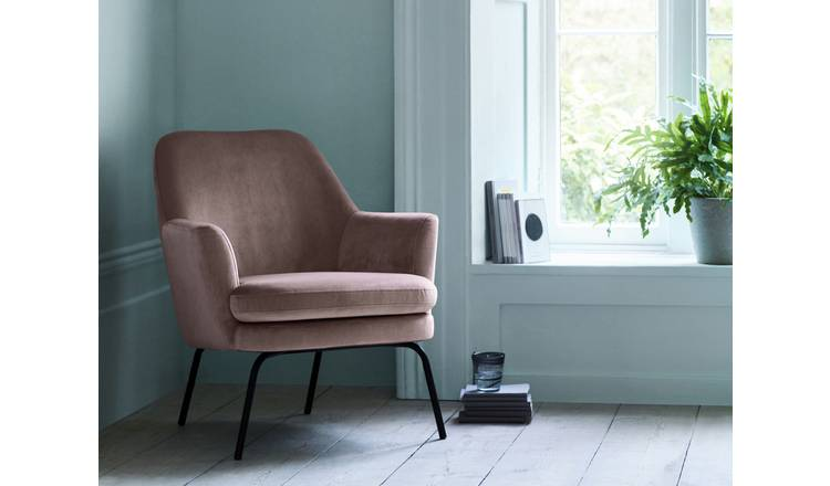 Buy Habitat Celine Velvet Accent Chair - Pink  Armchairs  Habitat