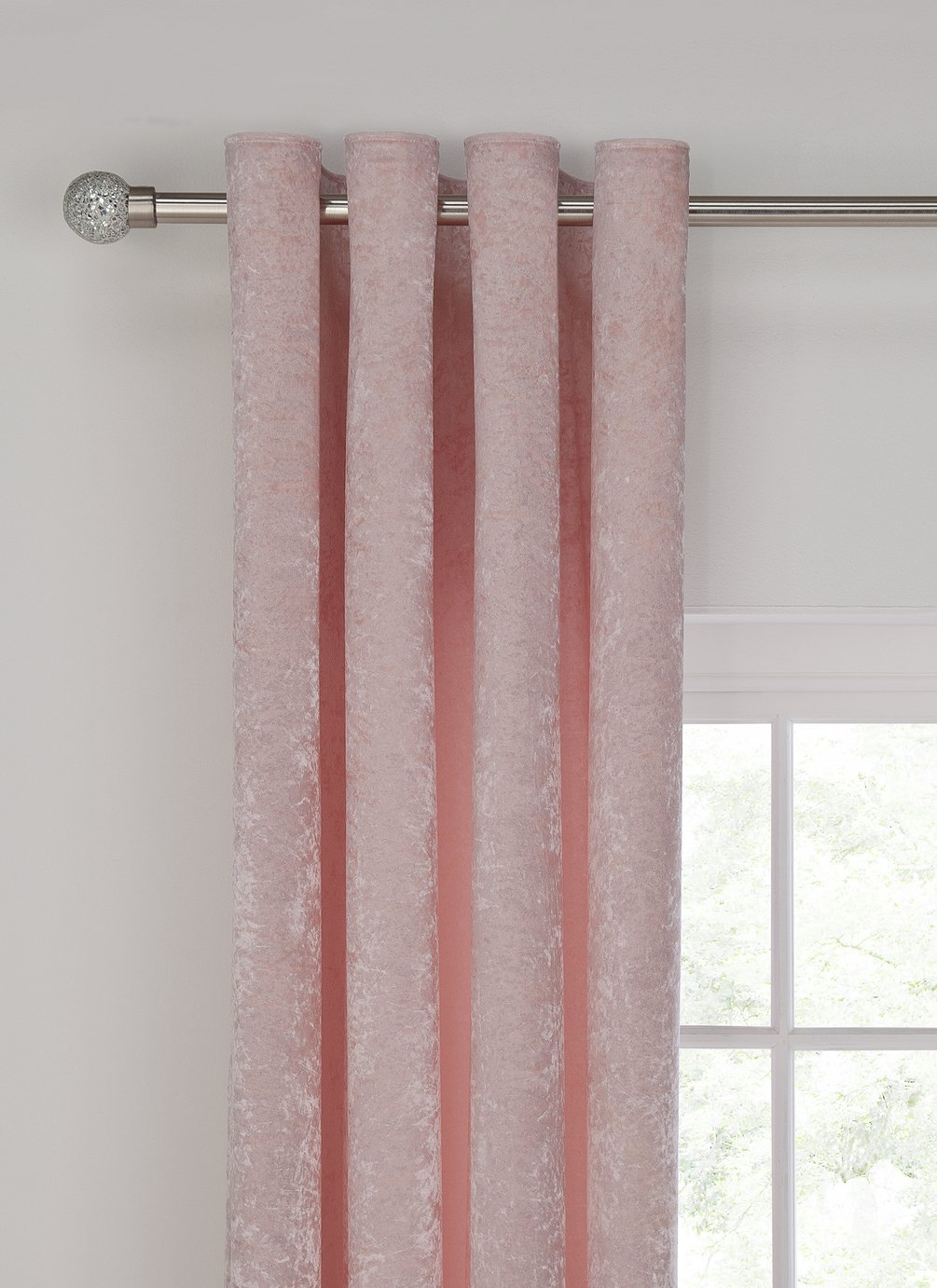 Argos Home Velvet Lined Eyelet Curtain - 168x229cm  - Blush