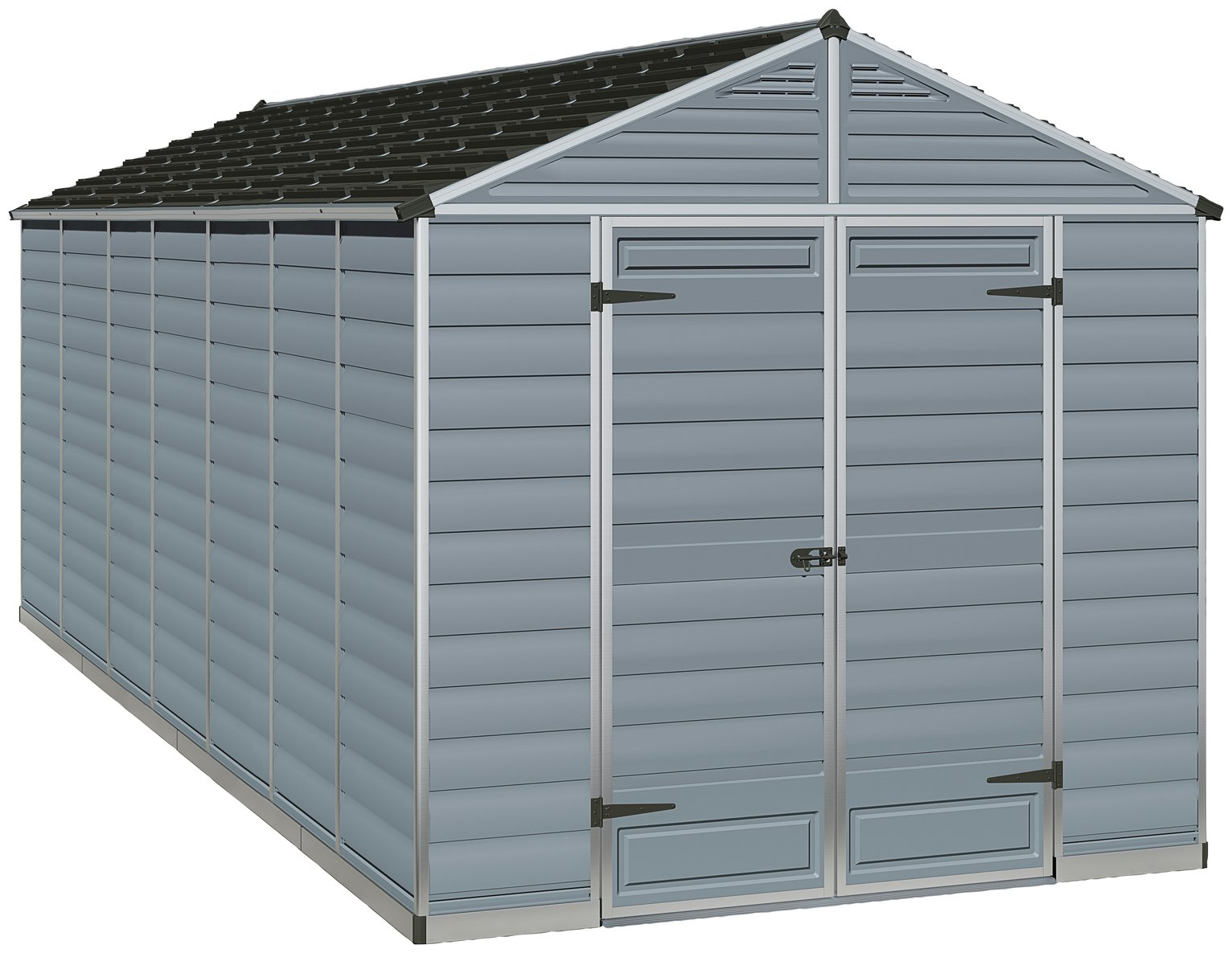 Palram Skylight Plastic 8 x 16ft Shed - Dark Grey Best Price, Cheapest Prices