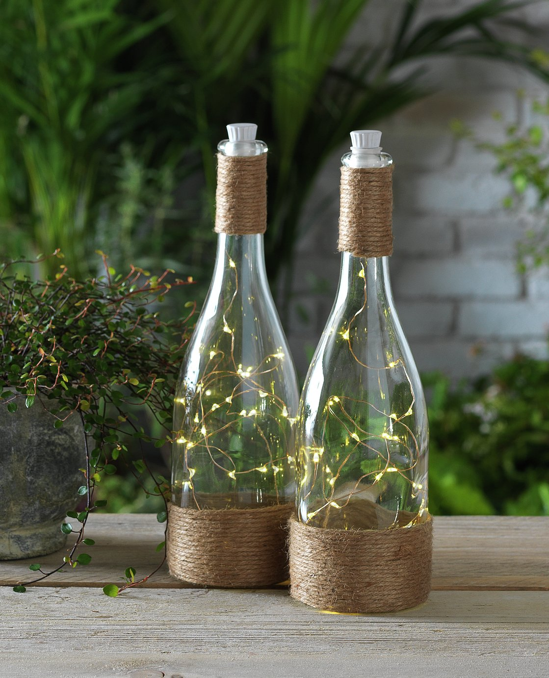 Argos Home Set of 2 Jute Tabletop Bottle Lanterns