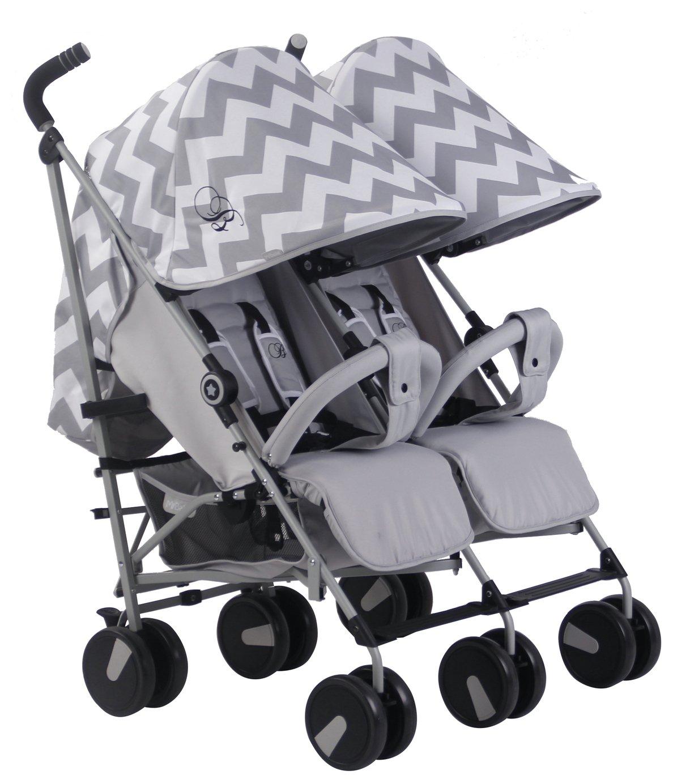 My Babiie Billie Faiers MB22 Chevron Double Pushchair - Grey