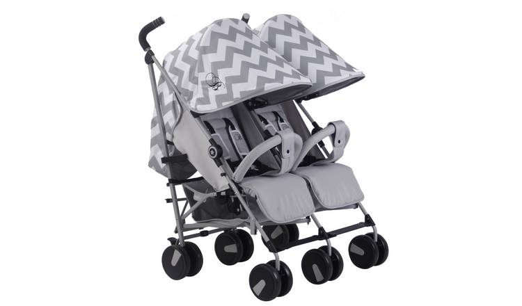 My Babiie Billie Faiers MB22 Chevron Double Pushchair - Grey