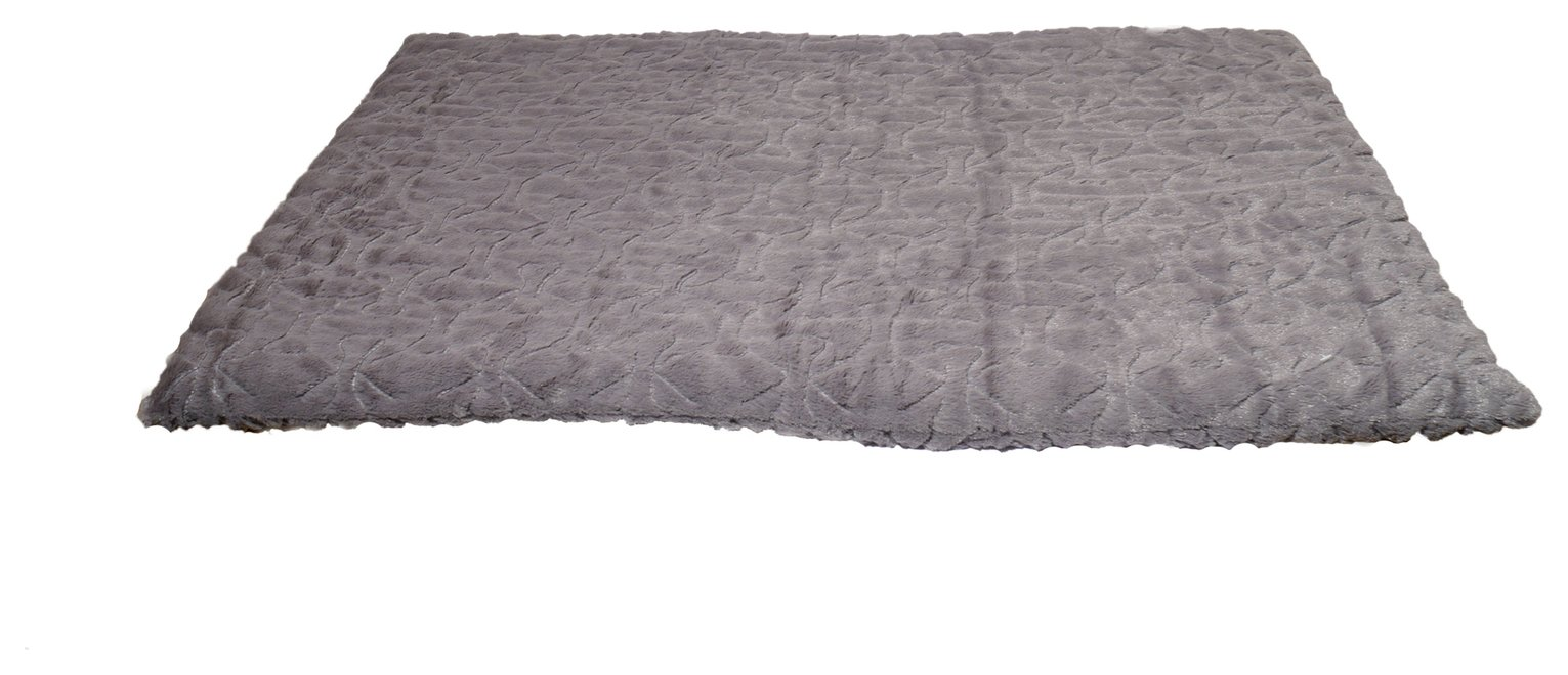 Rosewood Bone Patterned Plush Mattress Pet Bed - Small