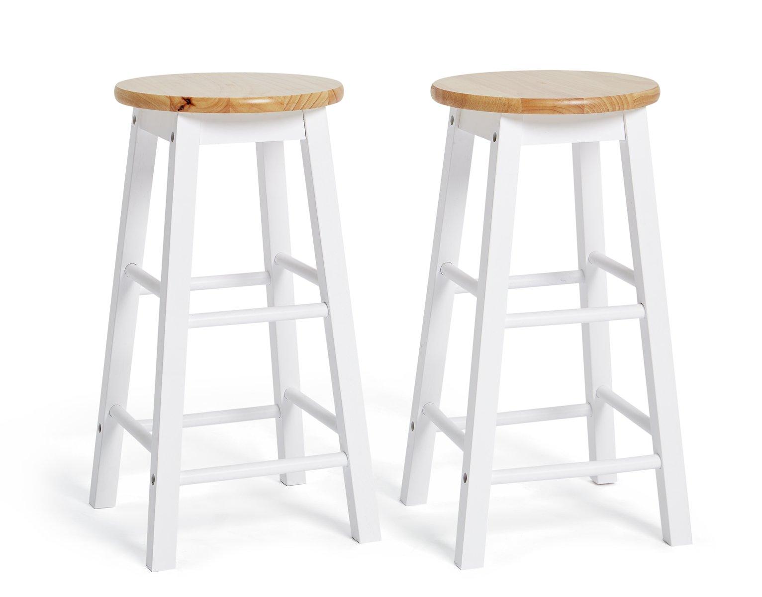 Habitat Pair of Wooden Bar stools - Two Tone