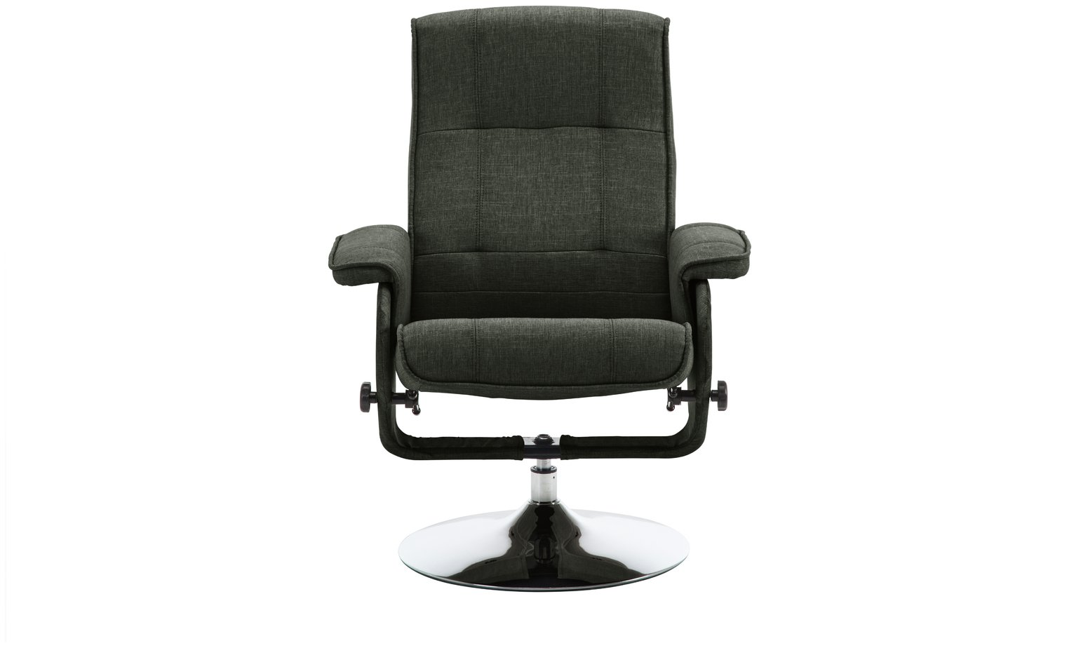 Argos Home Rowan Fabric Swivel Chair & Footstool - Charcoal