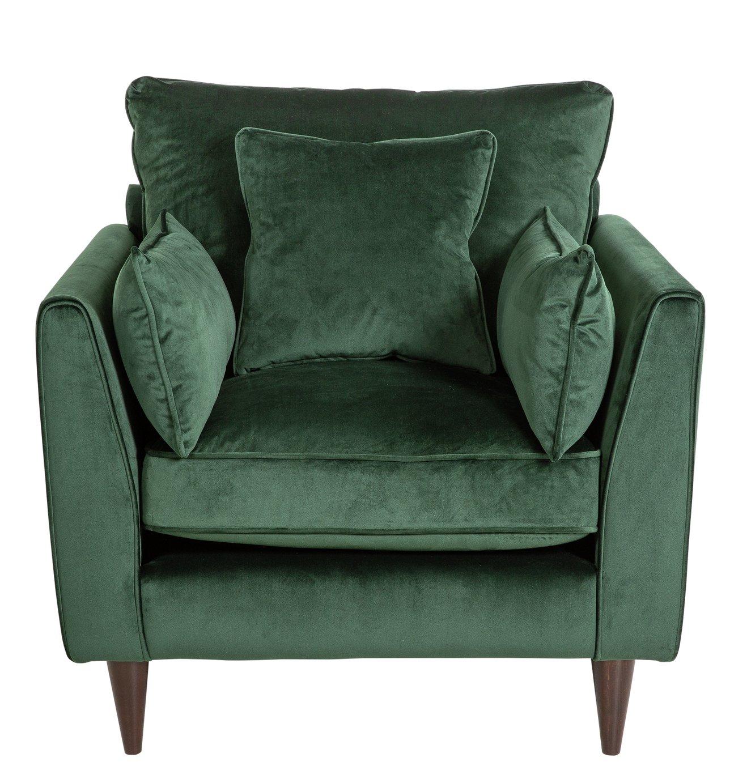 Argos Home Hector Velvet Armchair - Green