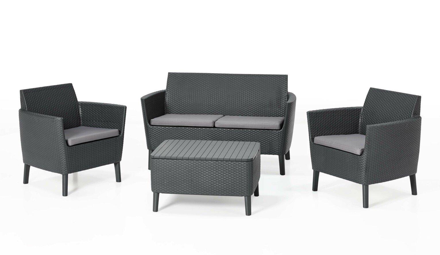 Keter Salemo 4 Seater Rattan Effect Sofa Set - Grey