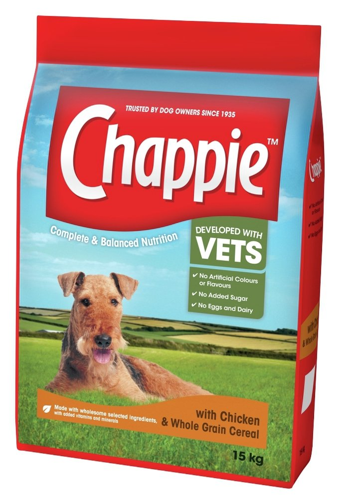 Chappie Complete Dry Dog Food Chicken Wholegrain Cereal 15kg