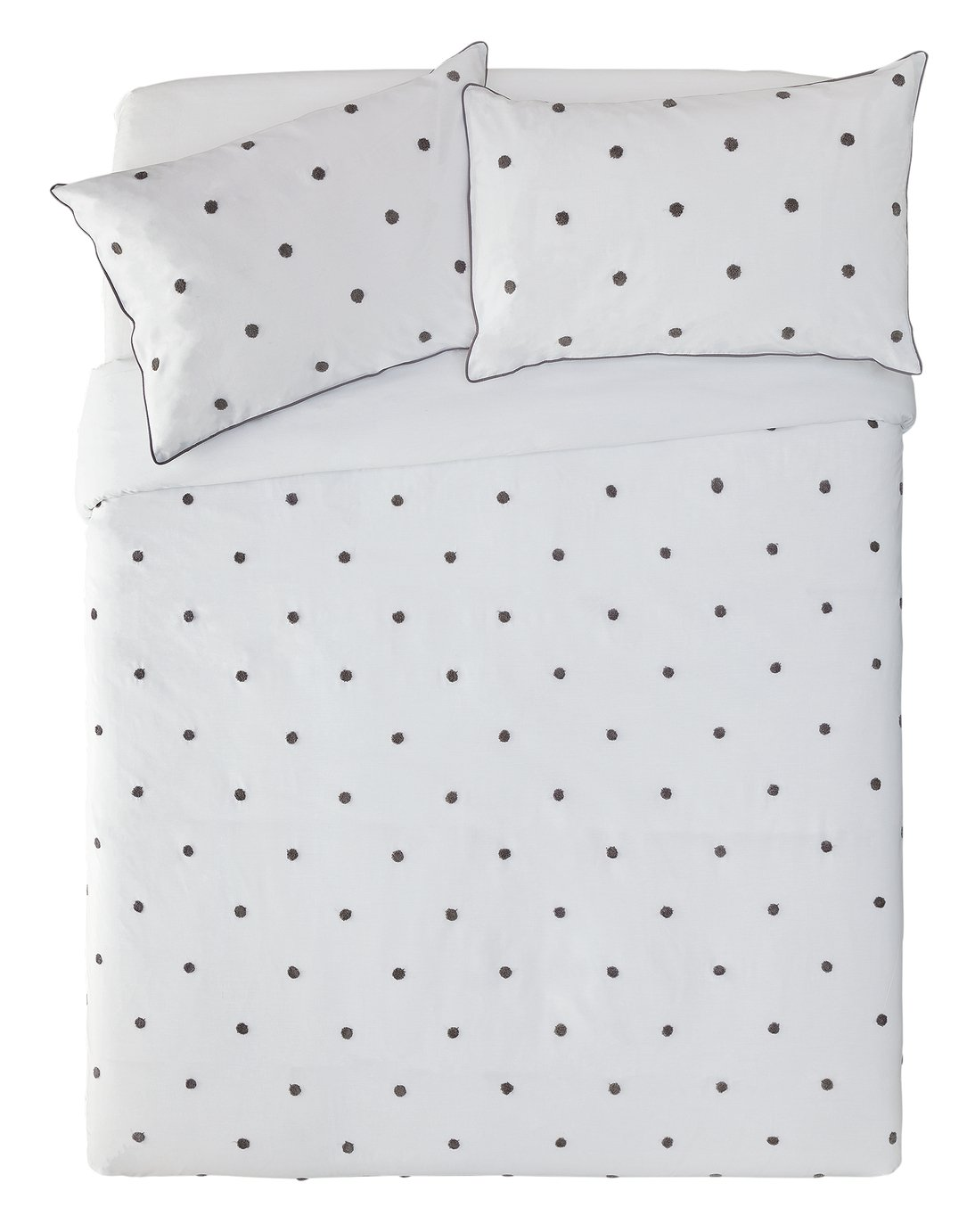 Argos Home Grey Spot Tufted Bedding Set - Kingsize