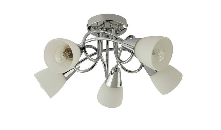 Argos Home Curico 5 Light Ceiling Light - Chrome & Glass