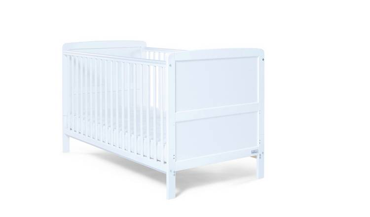 Baby Elegance Travis Baby Cot Bed with Mattress - White