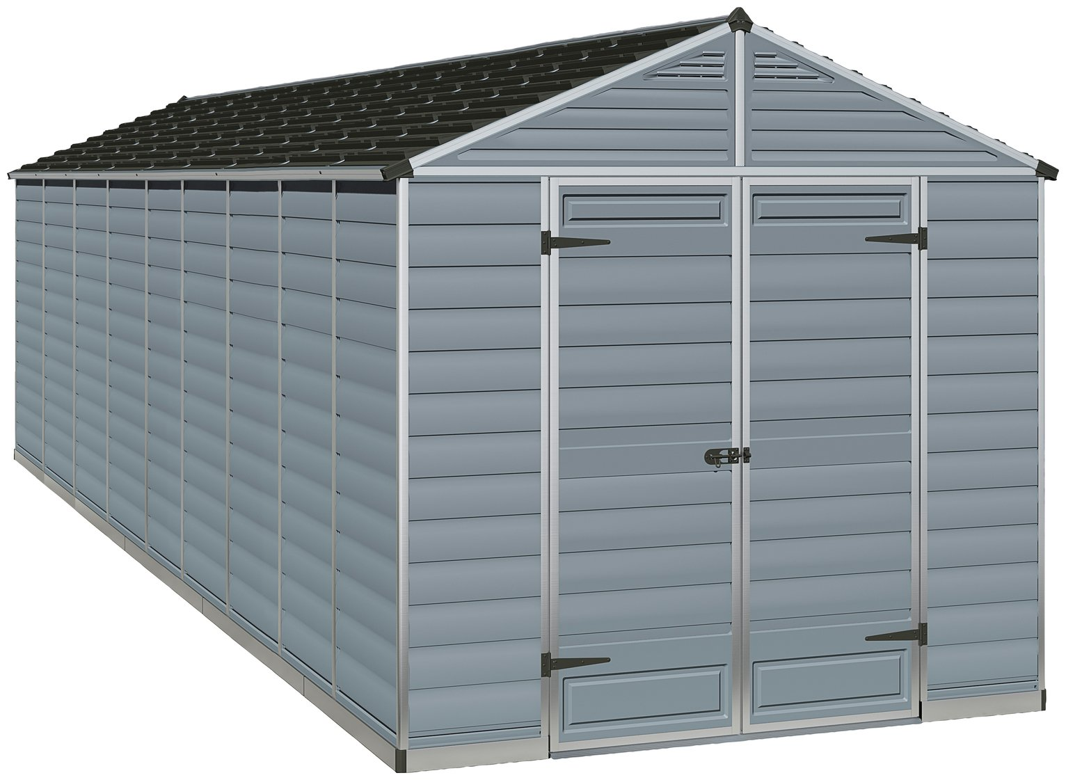 Palram Skylight Plastic 8 x 20ft Shed - Dark Grey Best Price, Cheapest Prices
