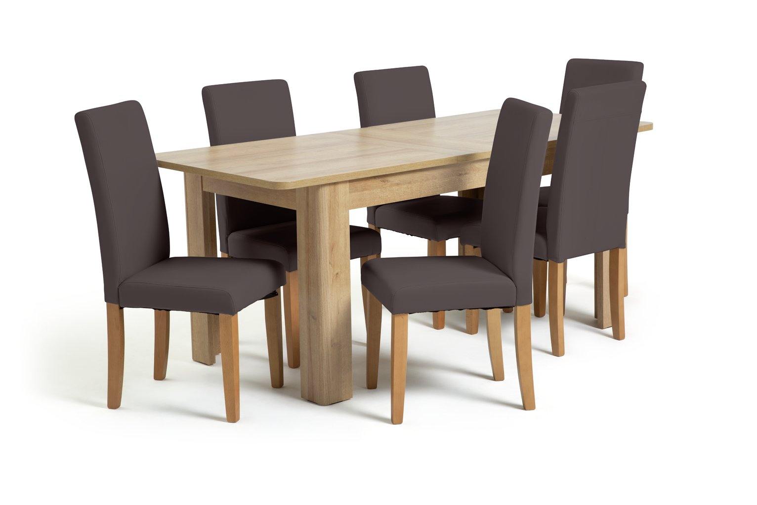 Argos Home Miami Curve Extendable Table & 6 Chairs-Chocolate review
