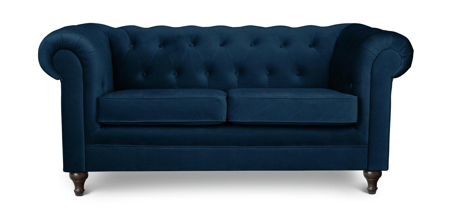 Habitat Chesterfield 2 Seater Velvet Sofa - Blue