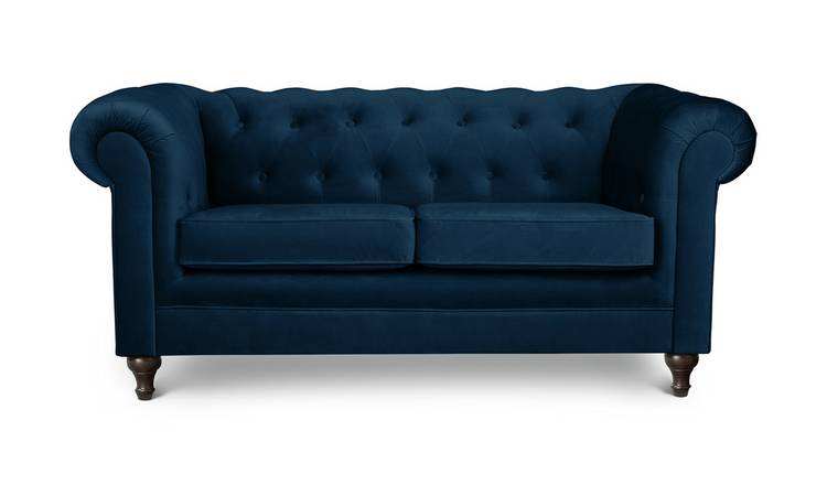Habitat Chesterfield 2 Seater Velvet Sofa - Blue