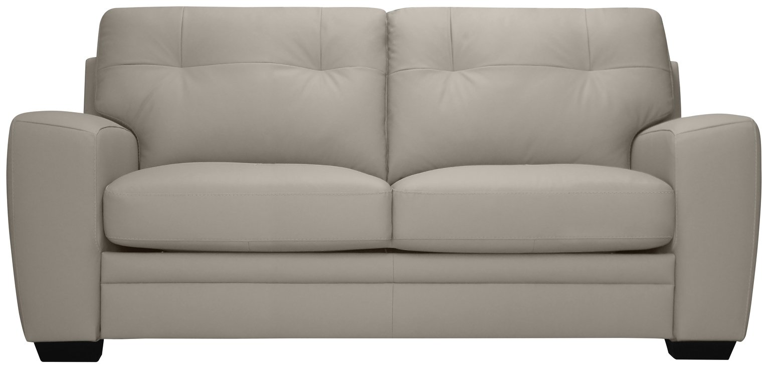 Argos Home Raphael Leather Mix Sofa bed - Light Grey