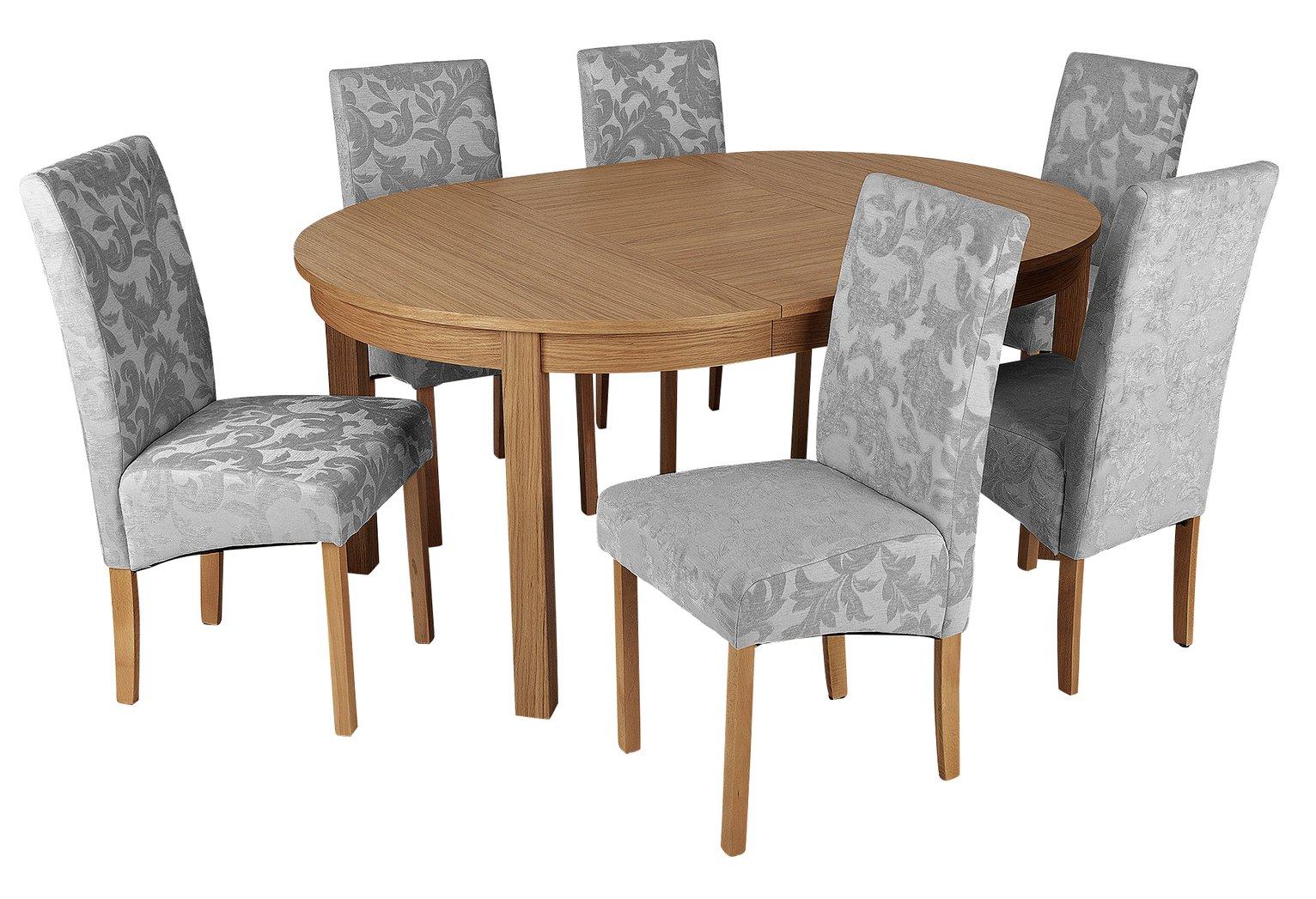 Argos Home Clifton Oak Extending Table & 6 Grey Damask Chair