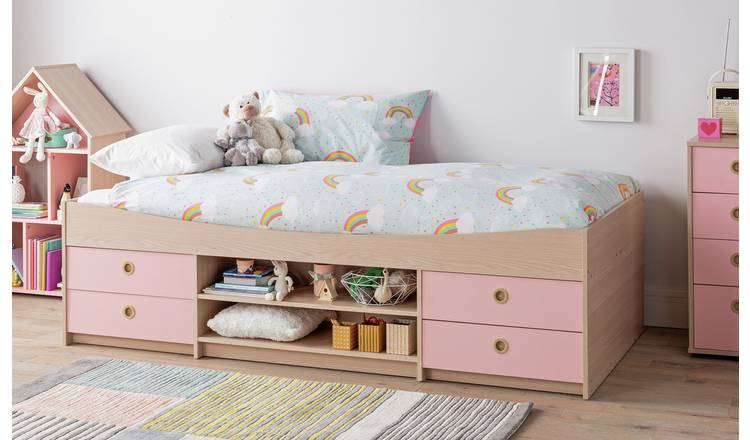 Argos Home Camden Cabin Bed Frame - Pink and Acacia Effect