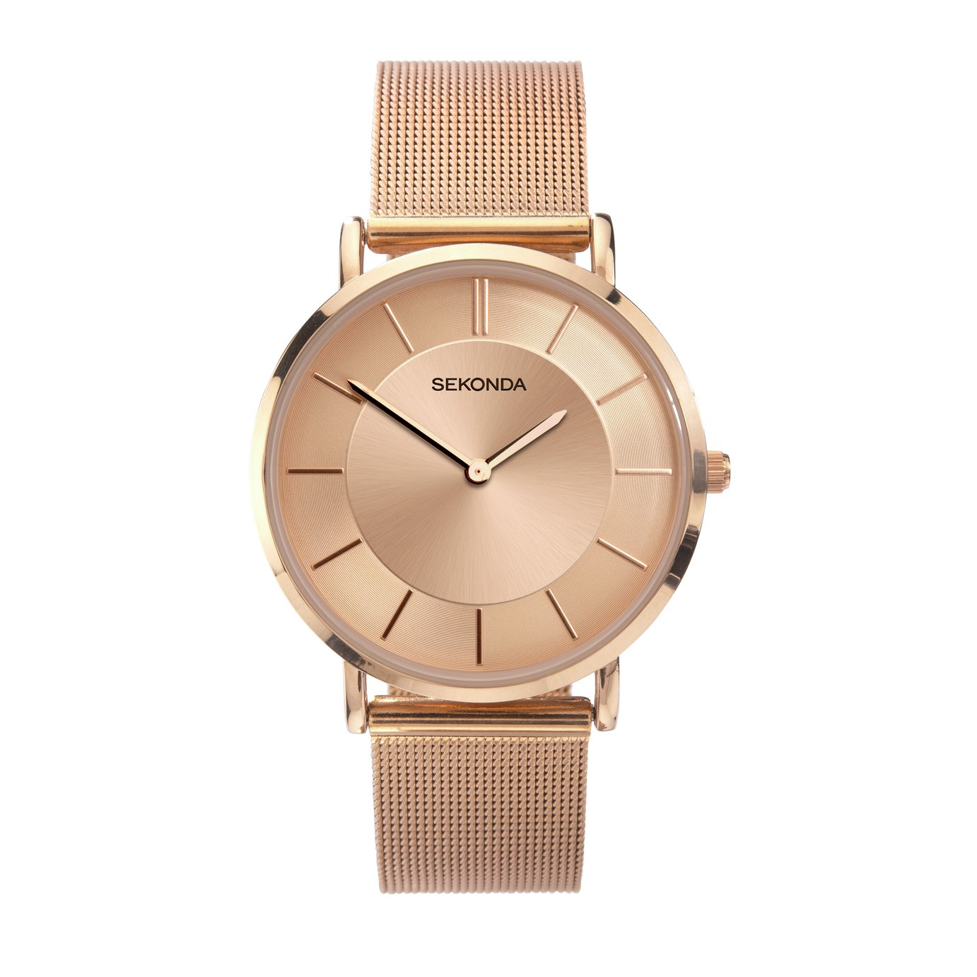 Sekonda Ladies Rose Gold Coloured Mesh Strap Watch