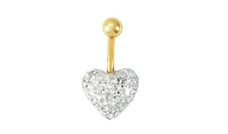 State of Mine 9ct Yellow Gold Glitter Heart Belly Bar