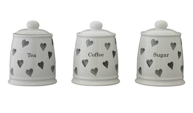 Buy Argos Home Set Of 3 Hearts Storage Jars Storage Jars And Sets Argos