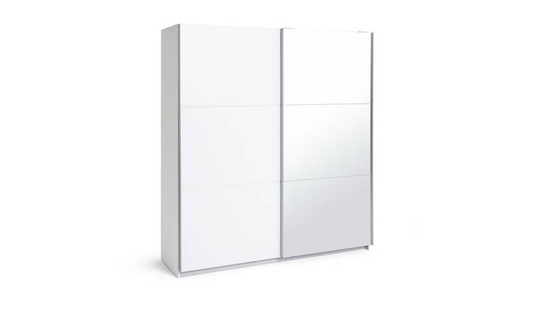 Habitat Holsted Lrg White Gloss &Mirror Sliding Wardrobe