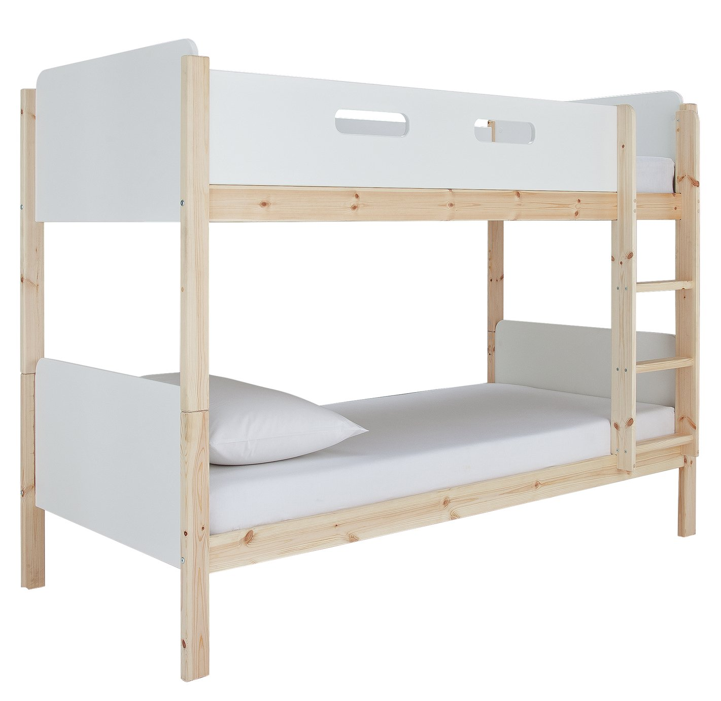Argos Home Arlo White & Pine Bunk Bed & 2 Kids Mattresses