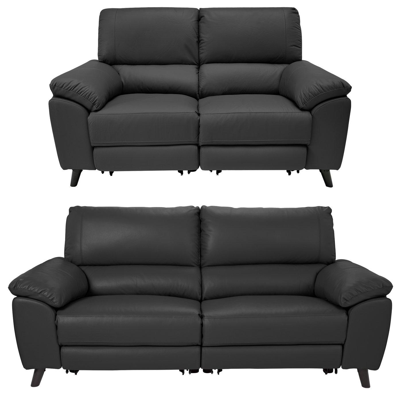 Argos Home Elliot 2 Seater & 3 Seater Recliner Sofa - Black