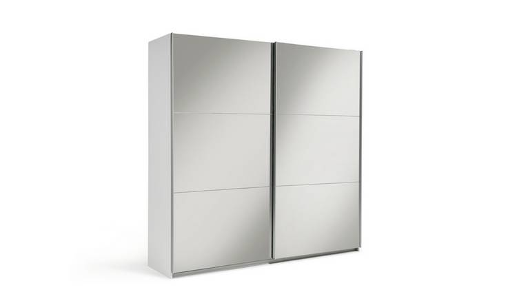 Habitat Holsted Mirrored XL Sliding Wardrobe - White