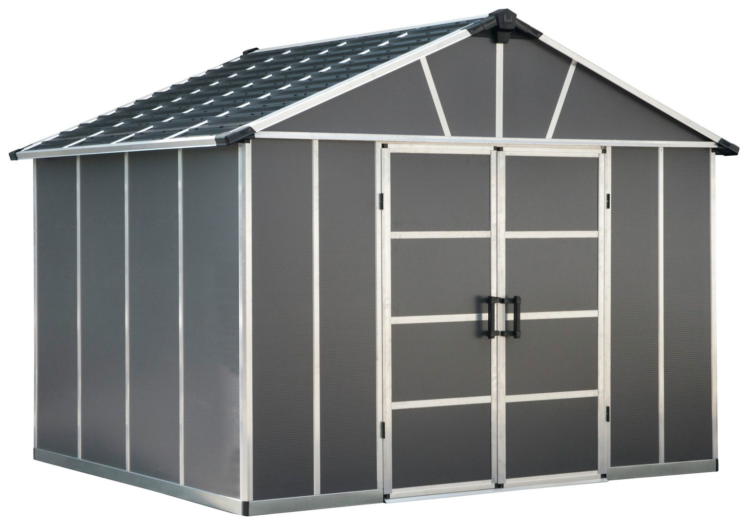 Palram Yukon Plastic 11x9ft Shed with Floor - Dark Grey Best Price, Cheapest Prices