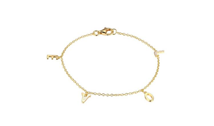 Moon & Back 9ct Gold Plated Love Charm Bracelet