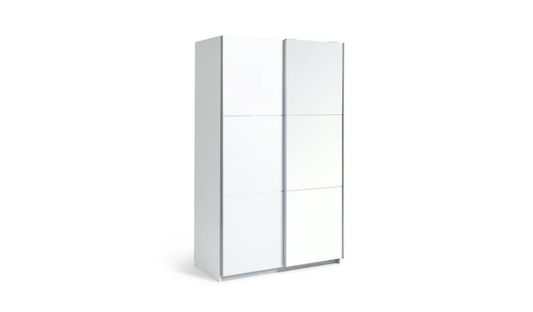 Habitat Holsted Small White & Mirror Wardrobe