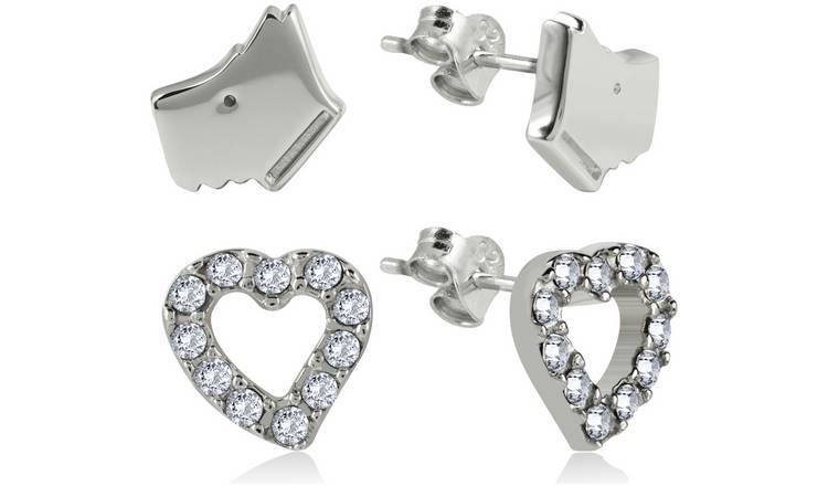 Radley Sterling Silver Dog and Heart Earrings