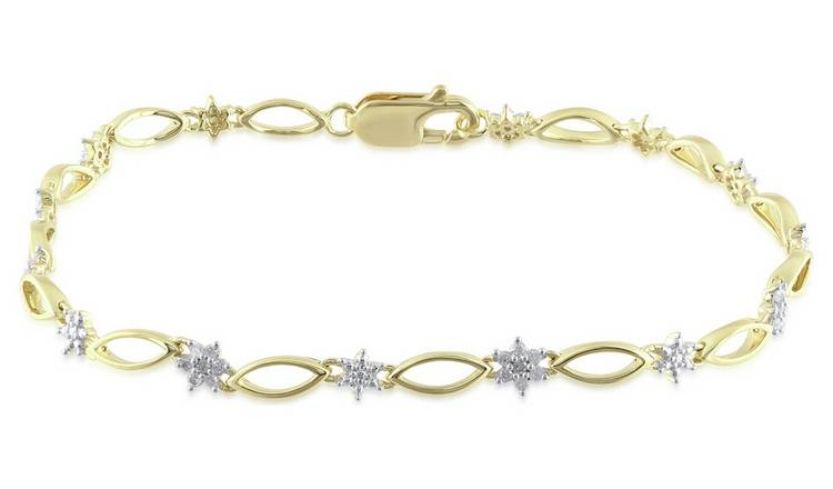 Revere 9ct Yellow Gold 0.25ct tw Diamond Flower Bracelet