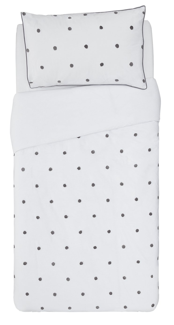 Argos Home Grey Spot Tufted Bedding Set - Single