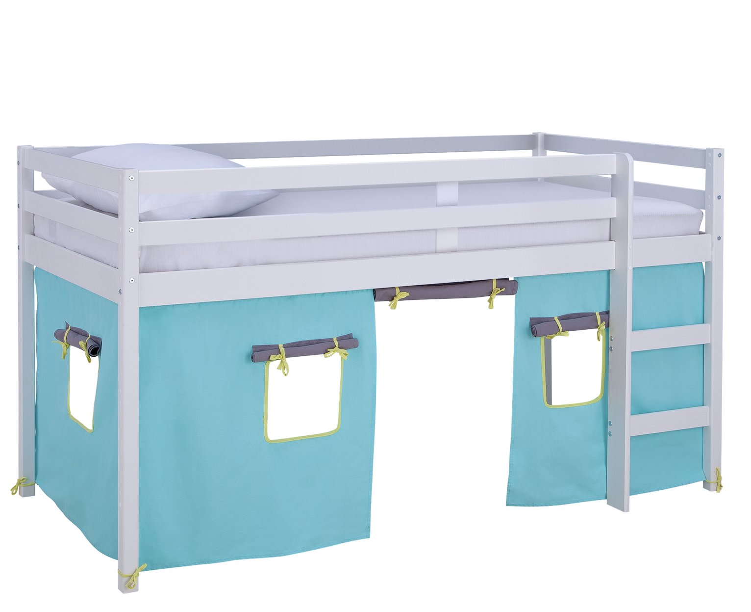 Argos Home Kaycie White Midsleeper, Blue Tent &Kids Mattress