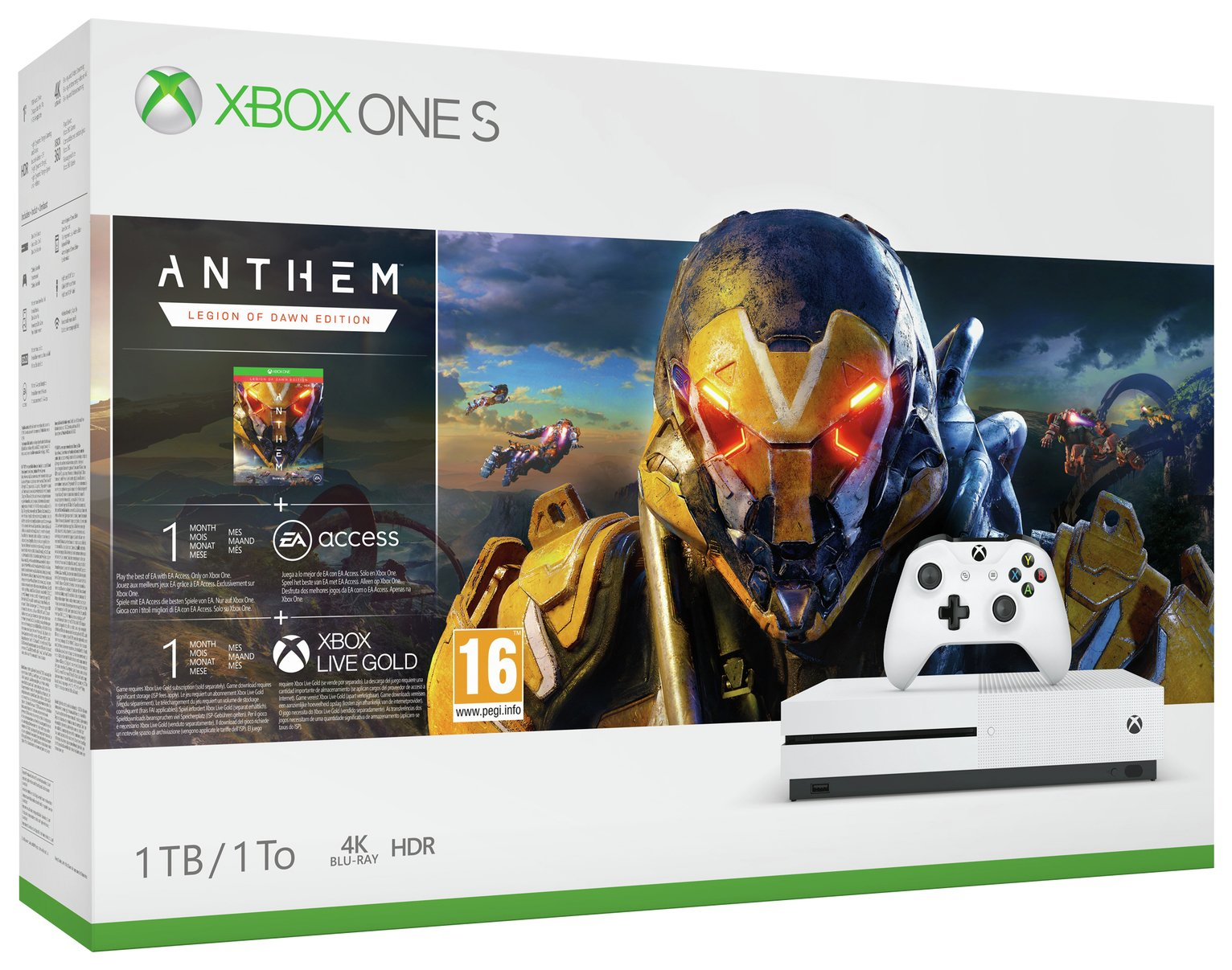 Xbox One S 1TB Console & Anthem Bundle