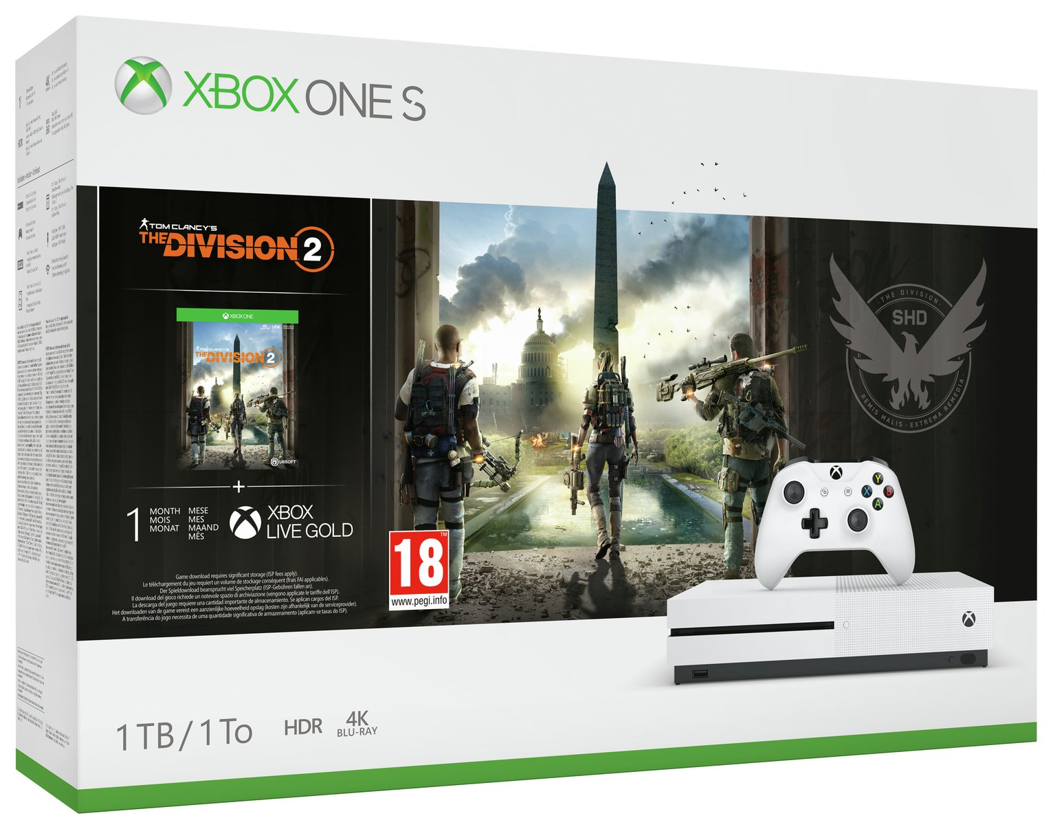 Xbox One S 1TB Console & The Division 2 Bundle (8834766) | Argos