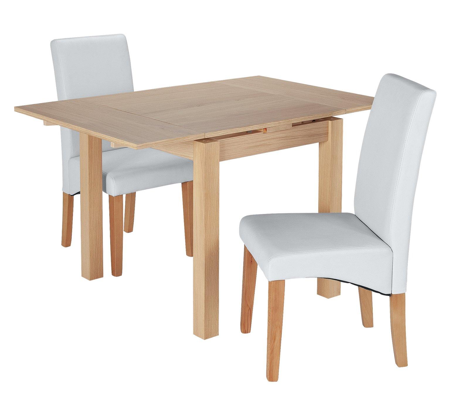 Argos Home Clifton Oak Extending Table & 2 Grey Chairs