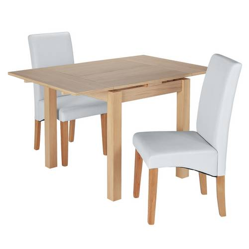 Argos Extending Dining Table And Chairs: Buy Argos Home Clifton Oak Extending Table & 2 Grey Chairs