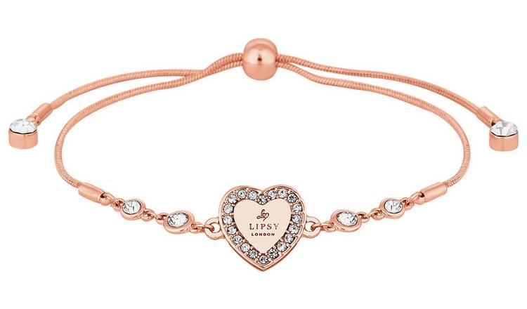 84f58b3c3a6 Buy Lipsy Rose Gold Crystal Heart Toggle Bracelet