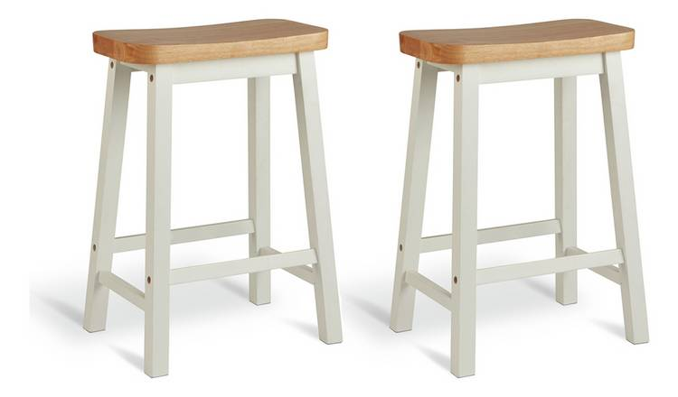 Habitat Pair of Saddle Bar Stools - Two Tone